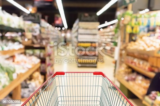 1072974214 istock photo Empty shopping cart with Abstract supermarket grocery store blurred defocused background with bokeh light 961080986