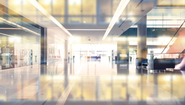Empty shopping center or building entrance and  business building reflection stock photo