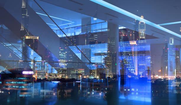 Empty shopping center or building entrance, Dubai cityscape reflection stock photo