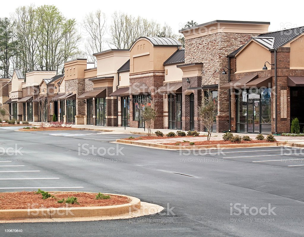 Empty shopping center with no stores stock photo