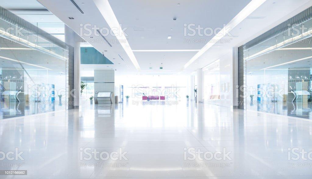 Empty shopping centre in sunset, Dubai stock photo