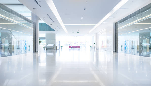 empty shopping centre in sunset, dubai - shopping mall stock photos and pictures
