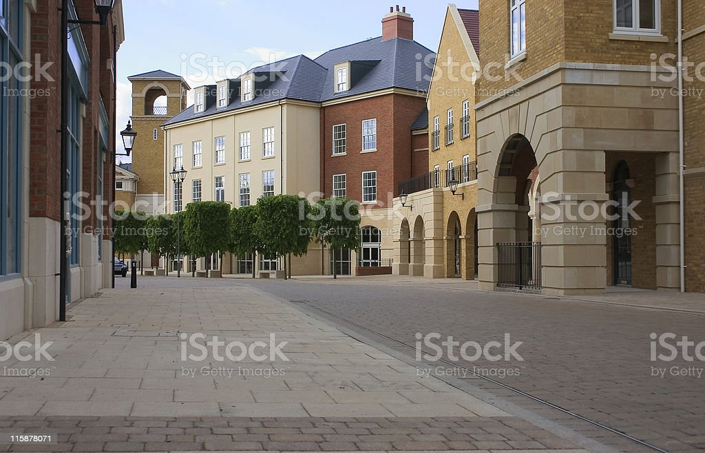 Empty shopping high street of new british town royalty-free stock photo