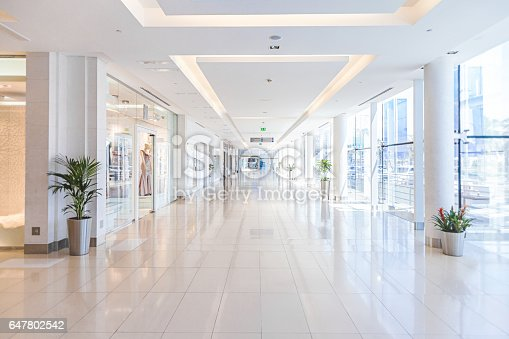 Background of empty corridor in modern shopping mall