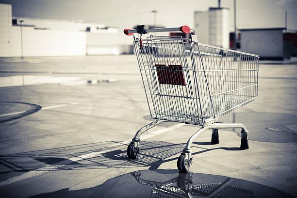 Empty shopping trolley stock photo