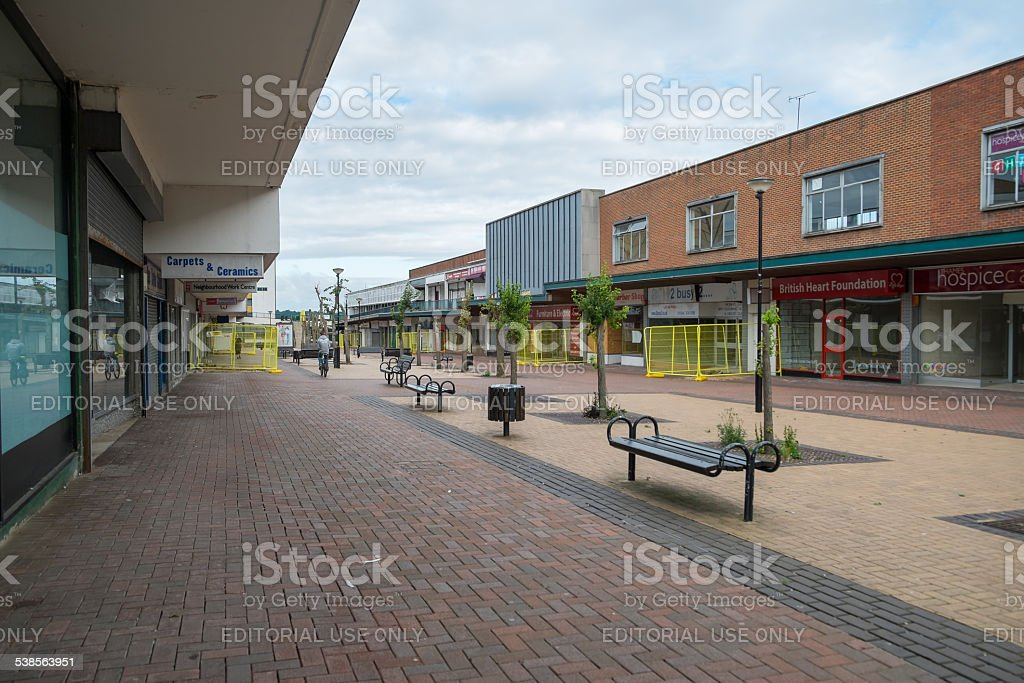 Empty shops in an abandoned highstreet stock photo