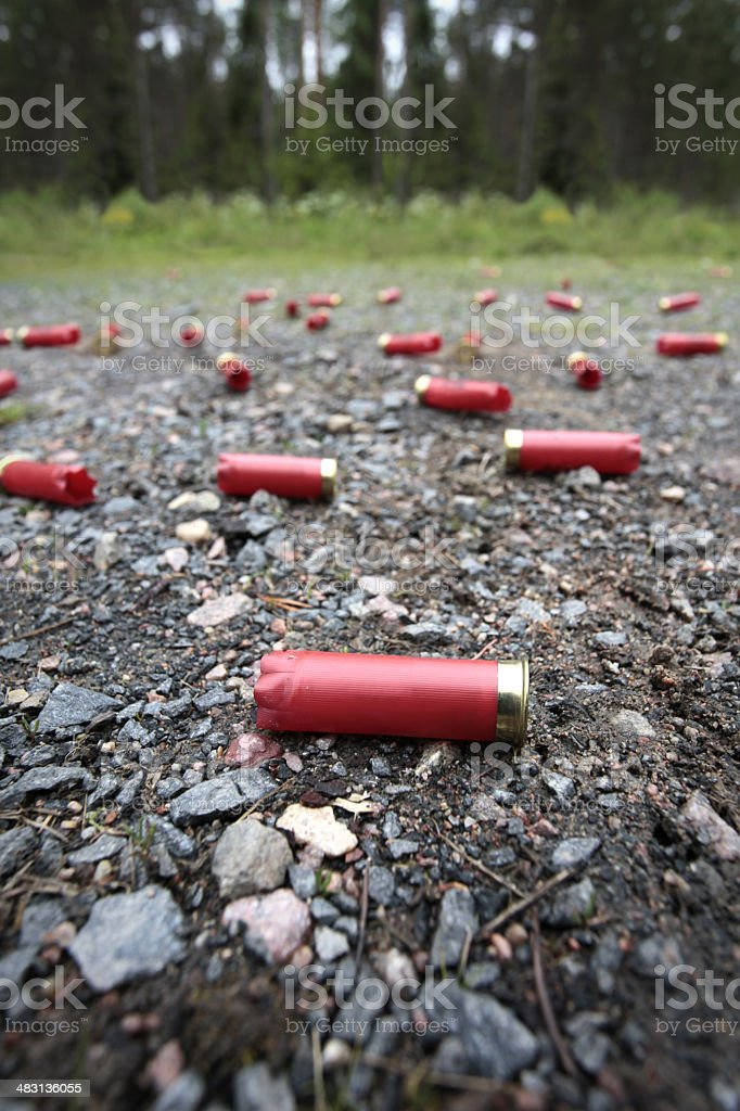 Empty shotgun shells stock photo