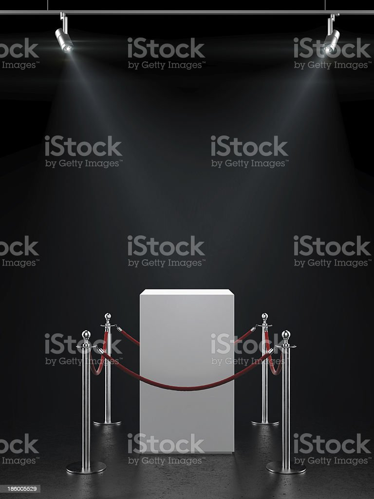 Empty showcase for exhibit with spotlights. stock photo
