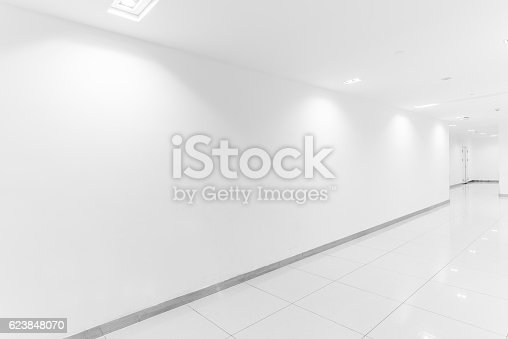 istock Empty showcase wall with lights 623848070