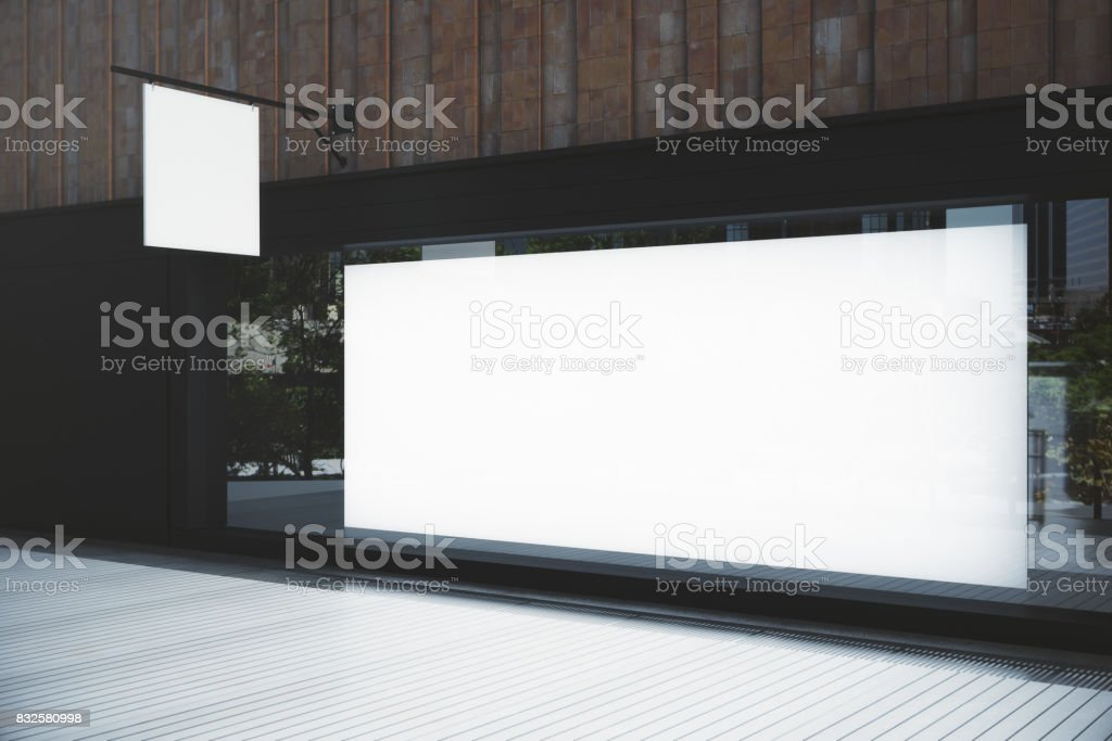 Empty showcase with billboard stock photo
