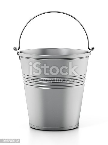 Empty silver bucket isolated on white.