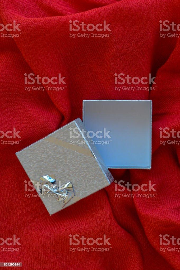 Empty silver gift box royalty-free stock photo