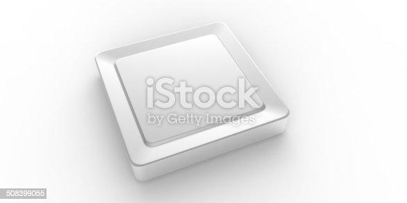 istock Empty silver square button 508399055