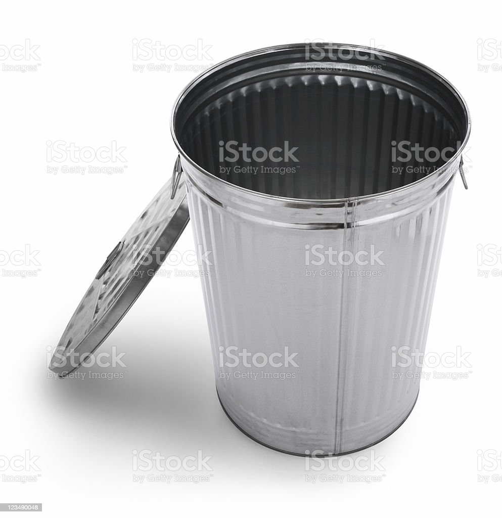 empty silver trash can XXL royalty-free stock photo