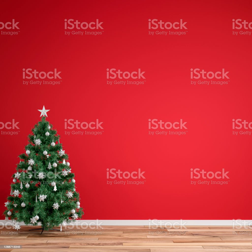 Empty Simple Living Room With Christmas Tree On Red Background Stock Photo Download Image Now Istock