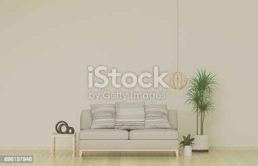Empty simple living room with sofa in the background. 3D illustration