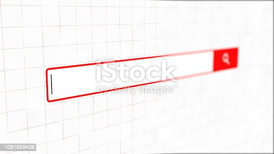 istock Empty simple web search bar with shallow dof, decoration for internet ad, 3d render backdrop, computer generating 1081659406