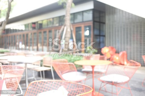 Empty sitting around a table in garden restaurant.Setting backyard Outdoor Evening Drinks Party