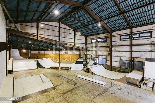 Interior images of empty skatepark