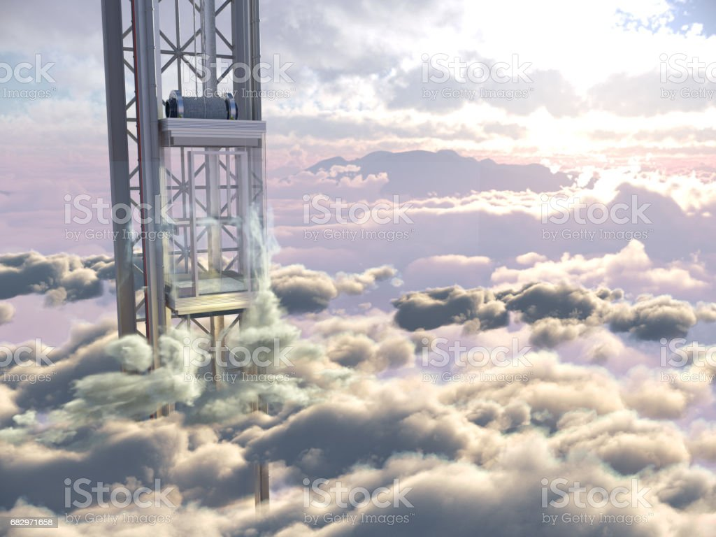 empty sky elevator concept on the sky  background concept composition royalty-free stock photo