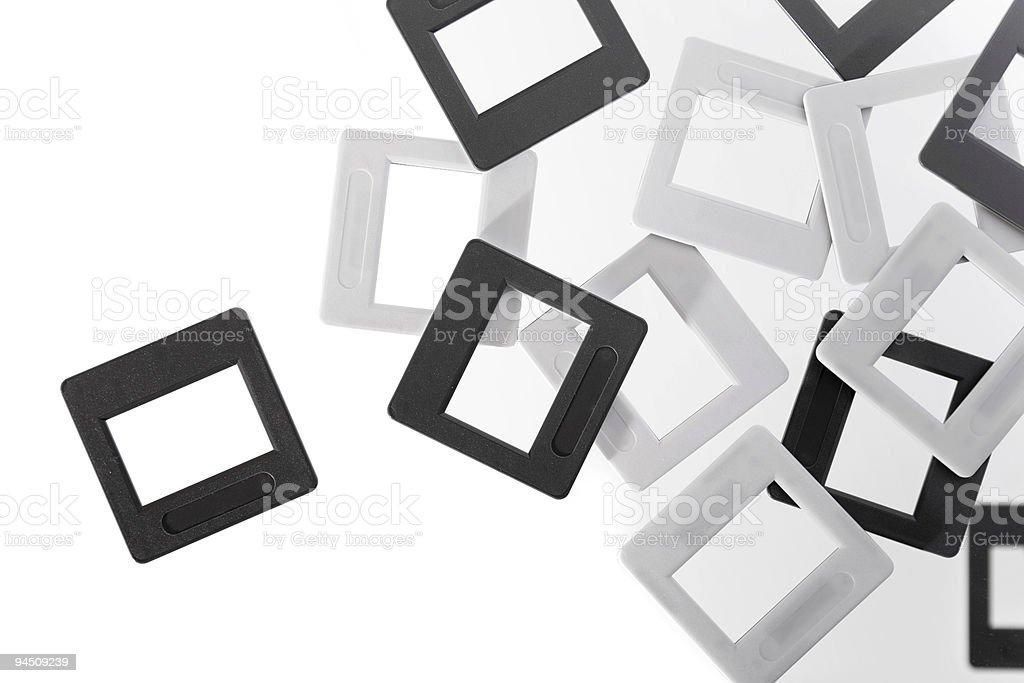 Empty slides black and white royalty-free stock photo