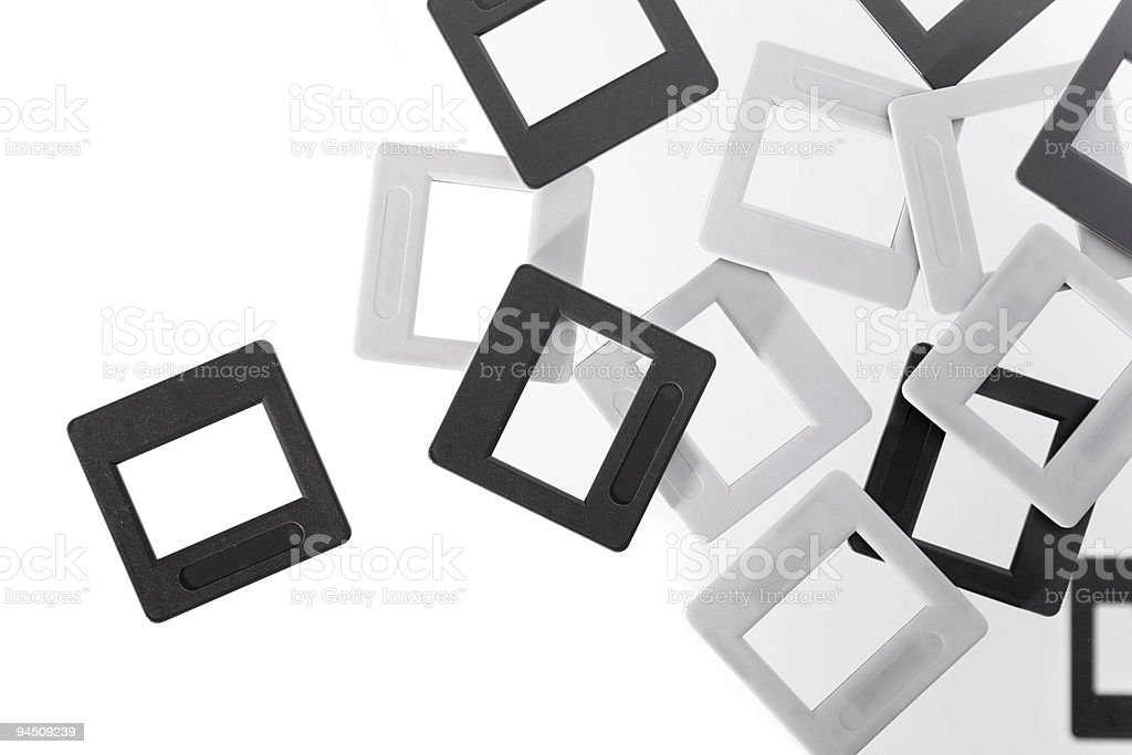 Empty slides black and white stock photo