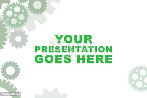 istock Empty slideshow template in green with empty space for wording or text.  Cogs and gears for mechanical process. 1007148974