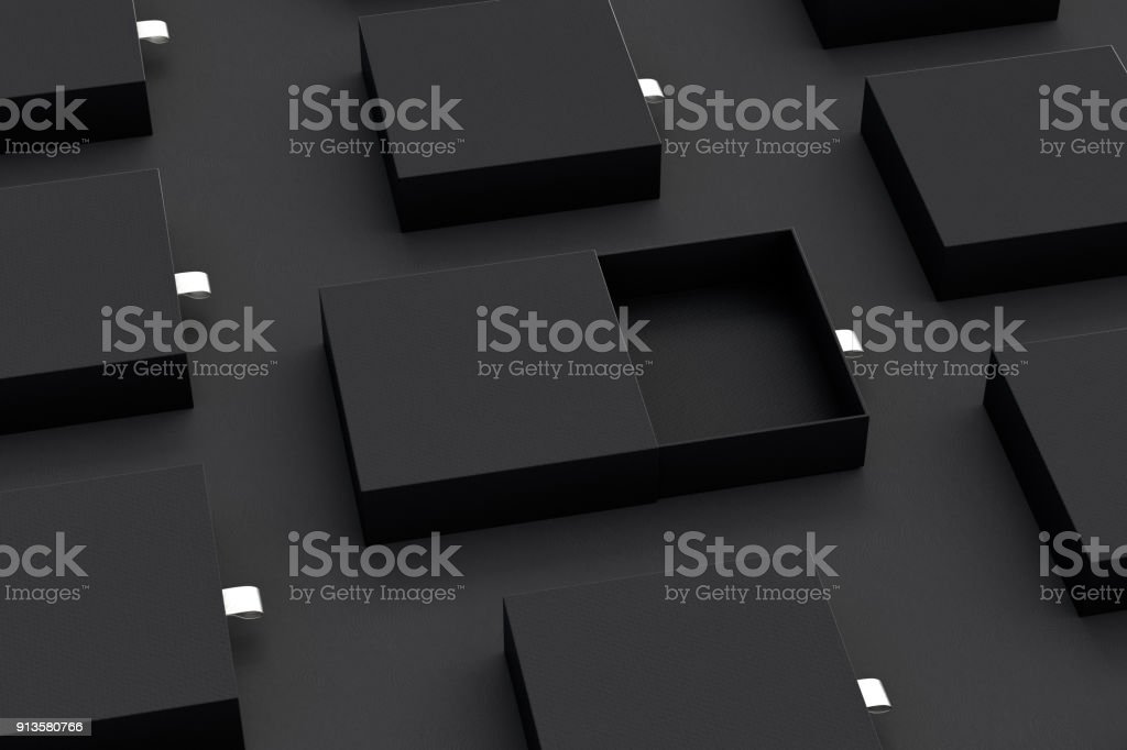 Empty sliding drawer boxes stock photo