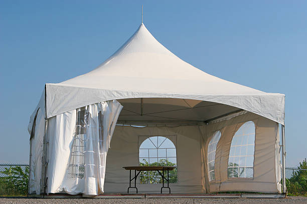Empty Small Tent Kiosk  entertainment tent stock pictures, royalty-free photos & images