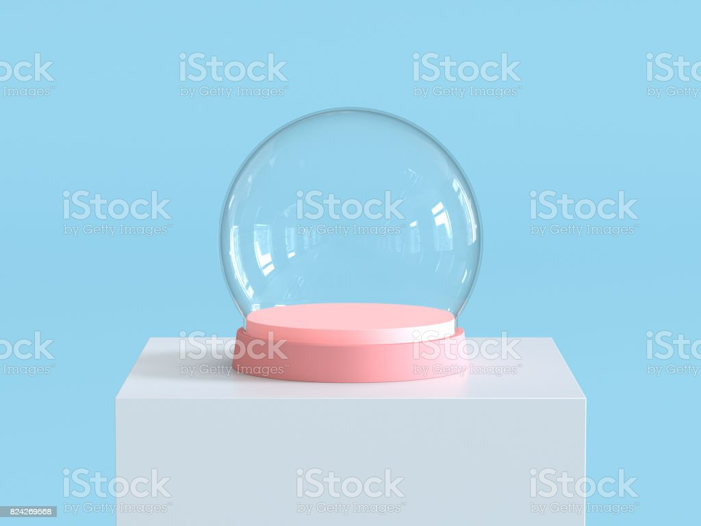 Empty snow glass ball with pastel pink tray on white  podium with pastel blue background. Kids theme. 3D rendering. stock photo