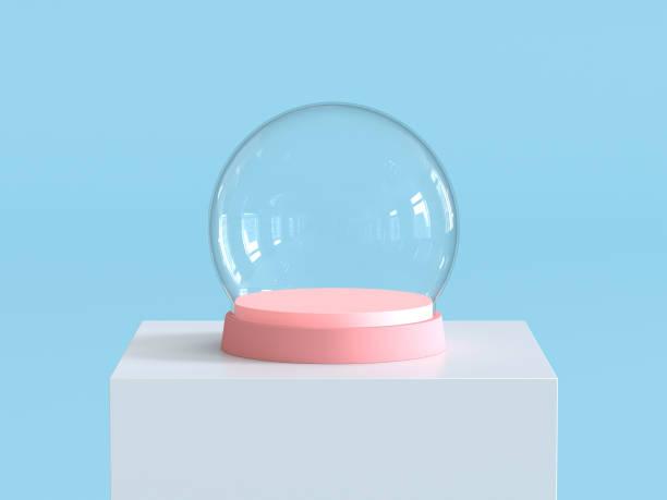 pastel mavi arka plan ile beyaz podyum üzerinde pastel pembe tepsili cam topu boş kar. çocuk tema. 3d render. - kubbe stok fotoğraflar ve resimler