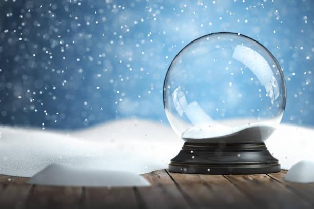 Empty snow globe Christmas background stock photo