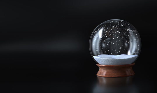 Empty Snow globe Christmas covered with snow and dark background - 3D rendering - Illustration