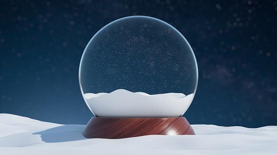 Empty snow globe with a wooden base - daylight scene
