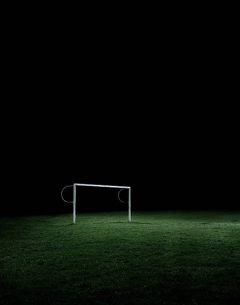 Empty soccer field stock photo