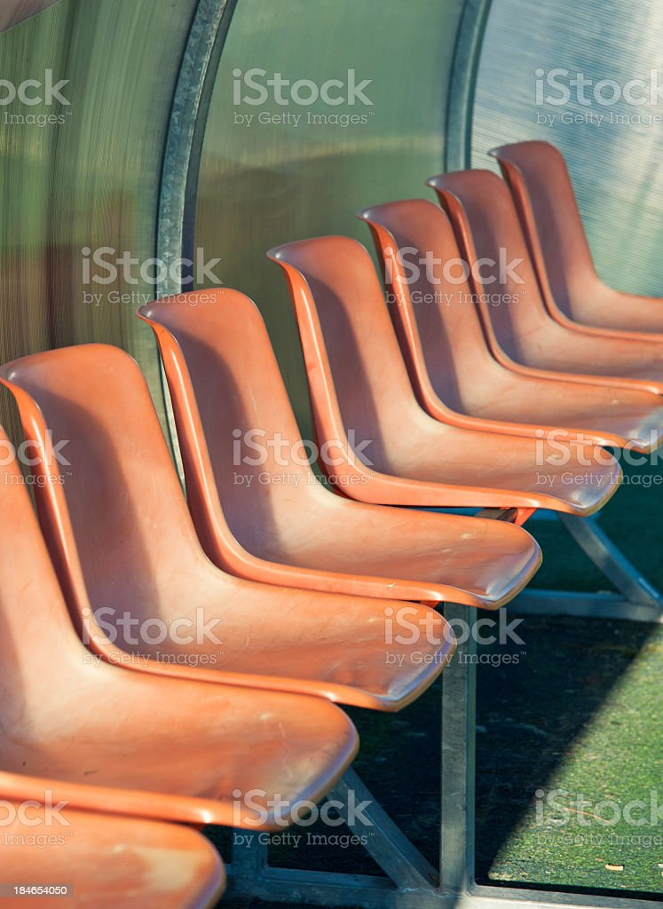 Empty Soccer Seats In The Stadium royalty-free stock photo