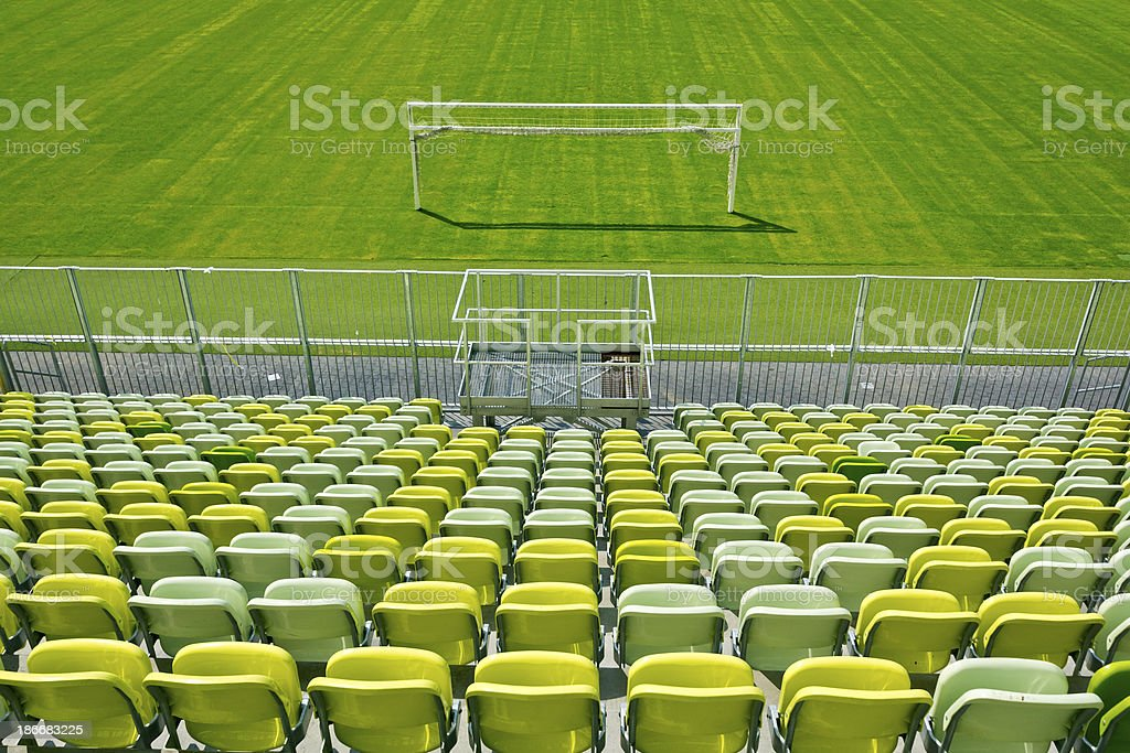 Empty Soccer Stadium Seating royalty-free stock photo