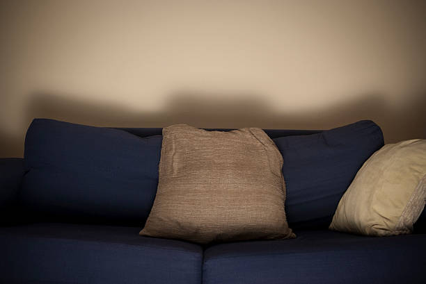 empty sofa lit by a tv - low lighting stock photos and pictures