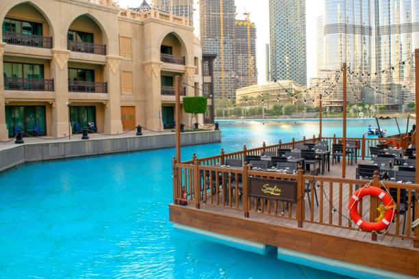 Empty Souk al Bahar with waterfront and restaurant, Dubai stock photo