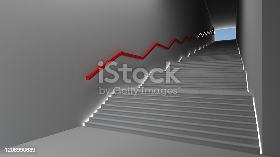 istock Empty space White color room with the gap and glowing light. Sun light and shadow. With a ladder and a red arrow rising. White color background concept. Business concept. illustration, 3D rendering. 1206990639