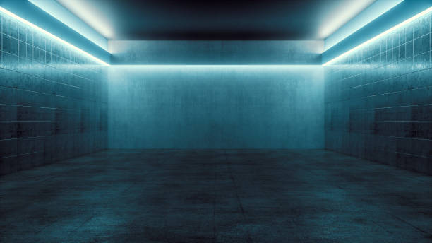 Empty spooky futuristic room Empty spooky futuristic room. This is entirely 3D generated image. bomb shelter stock pictures, royalty-free photos & images