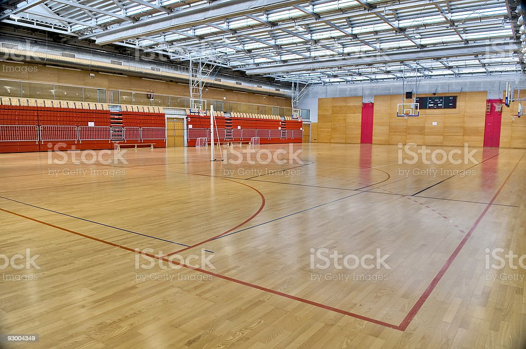 Empty Sports Hall with Red Metal Glass Roof royalty-free stock photo