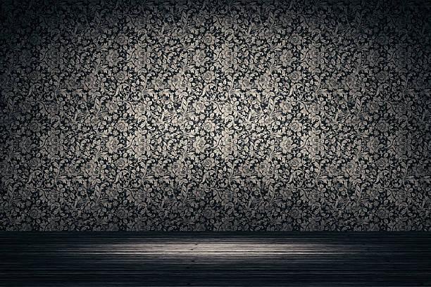 Leere Spotlit Zimmer mit Blumen Muster Hintergrund – Foto