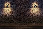 Chandelier, luxury retro style on dark background. Indoor