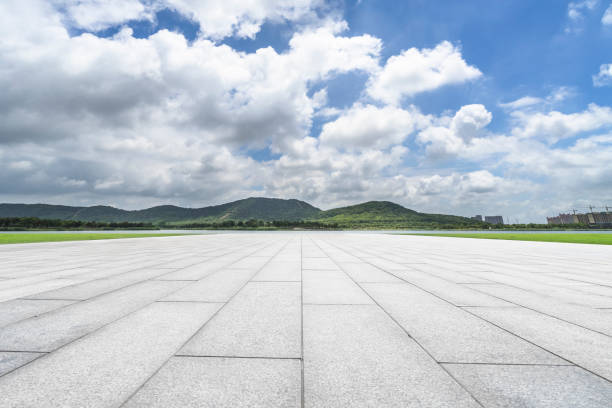 Empty square floor and blue sky nature landscape Traffic, China - East Asia, City, Backgrounds, Street cement floor stock pictures, royalty-free photos & images