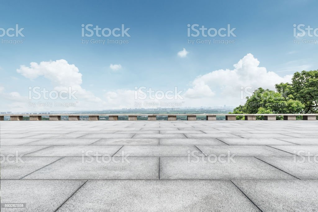 Empty square floor and blue sky nature landscape stock photo
