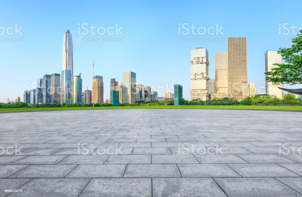 empty square floor and modern city skyline in Shenzhen - Royalty-free Architecture Stock Photo