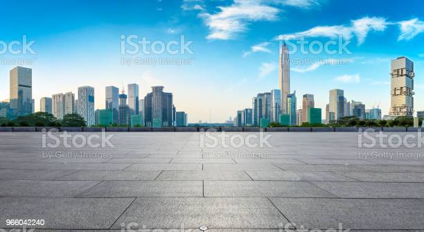 Empty Square Floor And Modern City Skyline Panorama In Shenzhen Stock Photo - Download Image Now