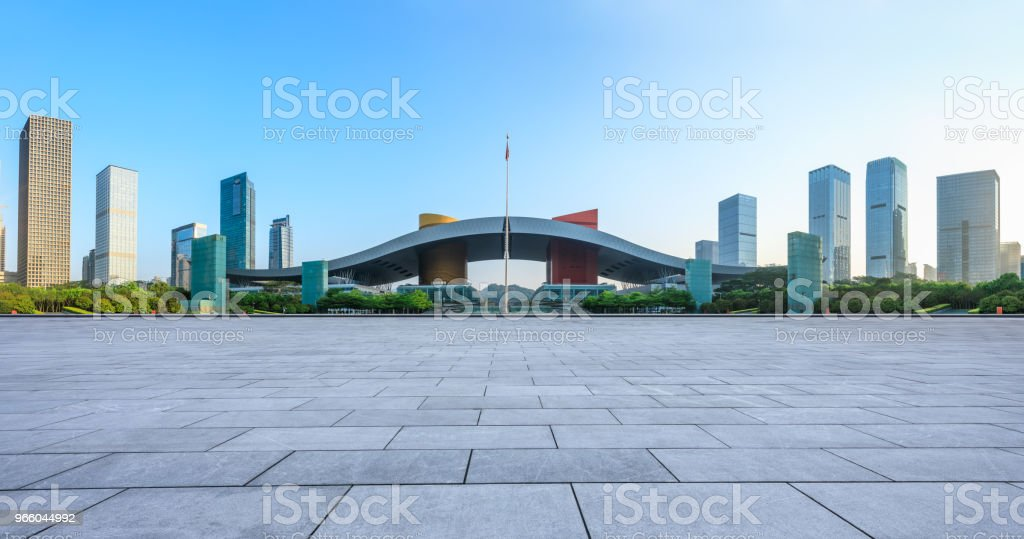 empty square floor and modern city skyline panorama in Shenzhen - Royalty-free Architecture Stock Photo