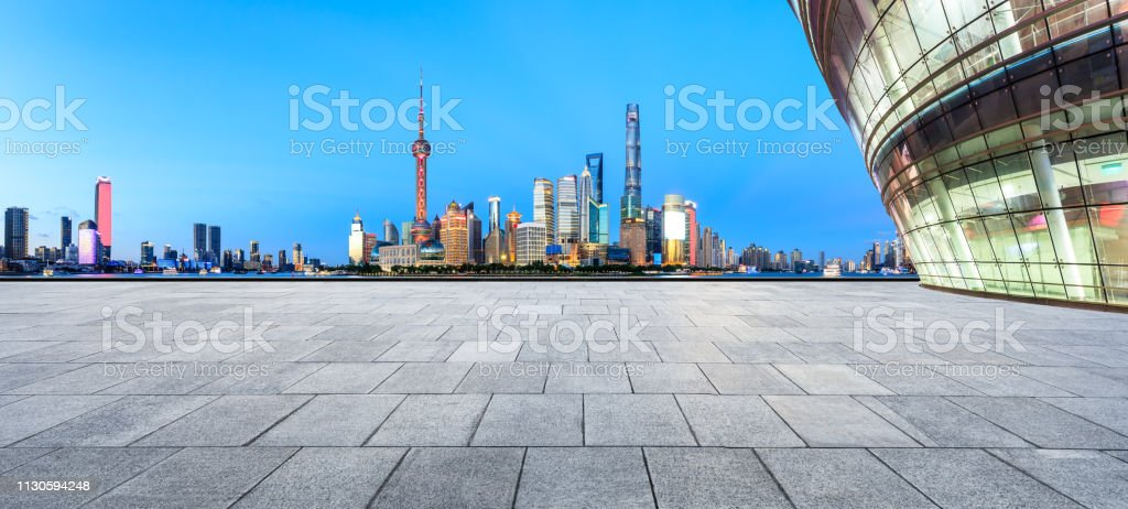 Empty square floor with panoramic city skyline in shanghai stock photo